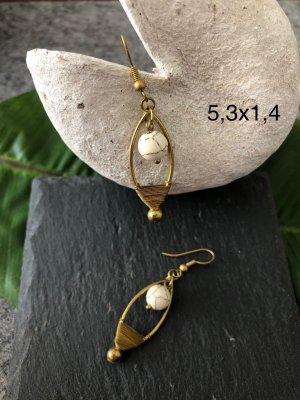 handmade Pendientes colgante color bronce-blanco puro