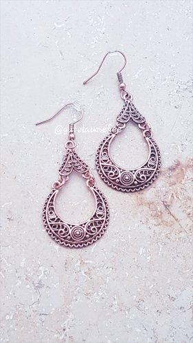 Ohrringe Ohrhänger mit rosegoldfarben Tropfen Boho