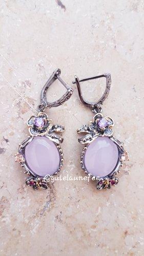 Ohrringe Ohrhänger mit Strass Blumen rosa silberfarbenen