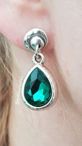Ohrringe Ohrhänger mit Strass grün silberfarbenen Vintage