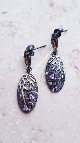 Ohrringe Ohrhänger mit Strass lila schwarz Wolfram