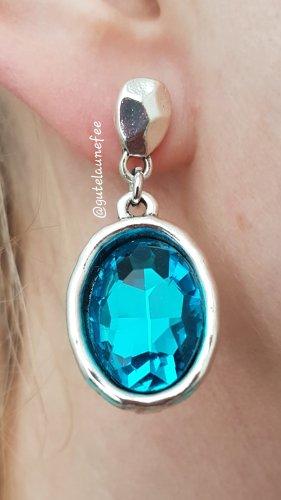 Ohrringe Ohrhänger mit Strass silberfarben blau Vintage