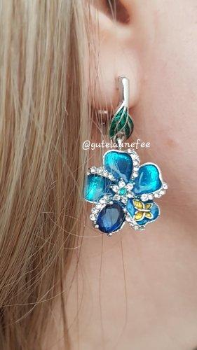 Ohrringe Ohrhänger mit Strass silberfarben emailliert blau Blume Vintage