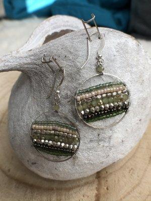 Ohrringe Ohrhänger Miyuki Perlen silberfarben hellgrün nude 4,5x2,5 cm