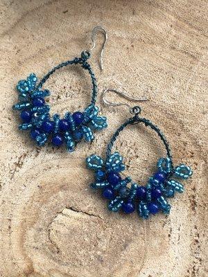Ohrringe Ohrhänger oval blau petrol hellblau Perlen 5,5x3,7 cm