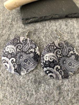 Ohrringe Ohrhänger Paisley schwarz weiß 7x5 cm ultraleicht