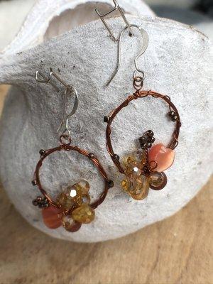 Ohrringe Ohrhänger Perlen goldorange apricot 4,5x2,3 cm