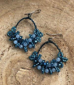 Ohrringe Ohrhänger petrol kadettblau himmelblau Perlen 5,5x3,7 cm