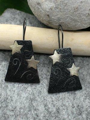Handmade Boucles d'oreilles en argent argenté-gris anthracite
