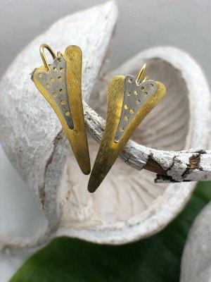 Ohrringe Ohrhänger Silber 925 teilvergoldet 3D Doppelherz 3,1x1,3 cm
