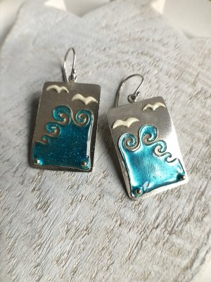 Handmade Silver Earrings multicolored