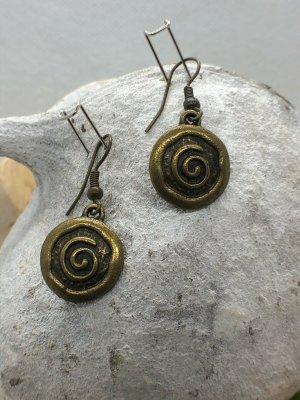 Ohrringe Ohrhänger Spirale klein 3,5x1,6 cm antik messingfarben nickelfrei