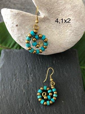 Ohrringe Ohrhänger Spirale Perlen türkis messingfarben 4,1x2 cm / Paar