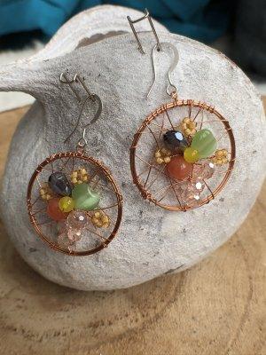Ohrringe Ohrhänger Traumfänger bunte Steine Perlen 4,5x3 cm