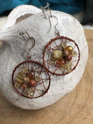 Ohrringe Ohrhänger Traumfänger dunkelbraun Perlen Steine 4,5x3 cm