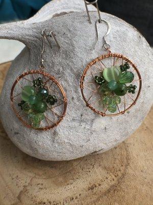Ohrringe Ohrhänger Traumfänger Steine Perlen grün 4,5x3 cm
