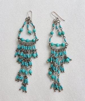 Dangle silver-colored-turquoise