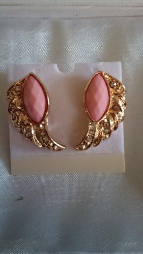 Schmuck Oorstekers goud-stoffig roze
