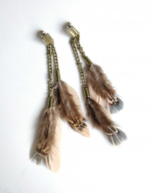 Ohrringe Ohrstecker Federn Vintage Bronze Blogger Indie Native