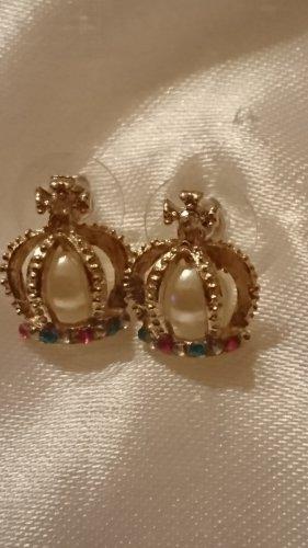 Ohrringe Ohrstecker Krone mit Perle und Strassteine- Böhmen-Unikat