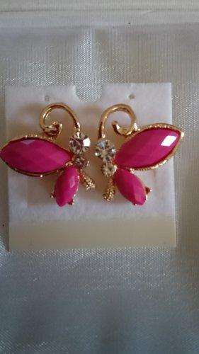 Ohrringe Ohrstecker pink /gold Schmetterling mit Krystallsteinen