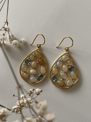 Ohrringe Opal und Blaue Topas Stein