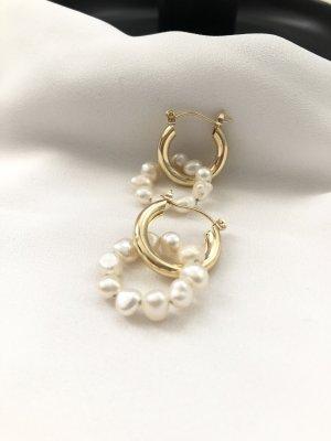 Boucles d'oreilles en perles doré-blanc