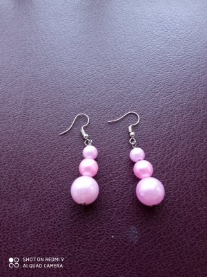 Ohrringe rosa silberfarben silber handgemacht - Nur noch bis zum 18. September!