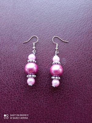 Ohrringe rosa violett silberfarben handgemacht - Nur noch bis zum 18. September!