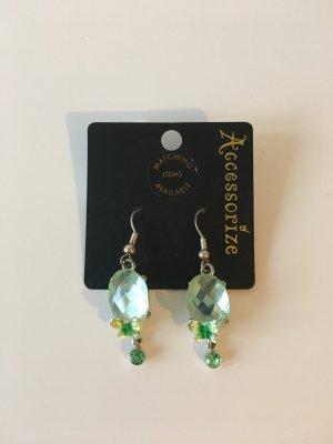 Ohrringe Schmuckstein Glasstein Schmetterlinge grün Sommer Ohrschmuck