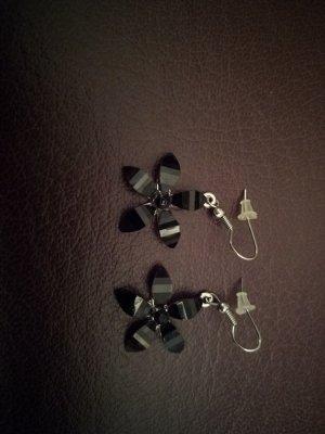 Dangle black-silver-colored metal