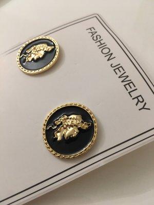 Ohrringe Schwarz Gold Antike Rund Münze