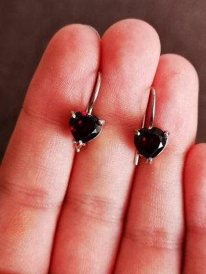 Ohrringe Silber Herz rote Stein
