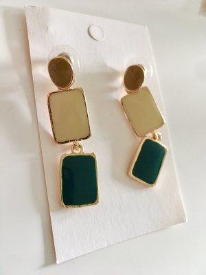 Ohrringe Statement 3 Steine Beige Cremeweiss Smaragdgrün goldene Umrandung