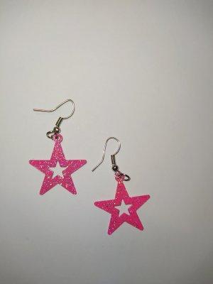 Ohrringe Stern pink - glitzer