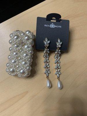 Bijou Brigitte Pendientes de perlas blanco puro