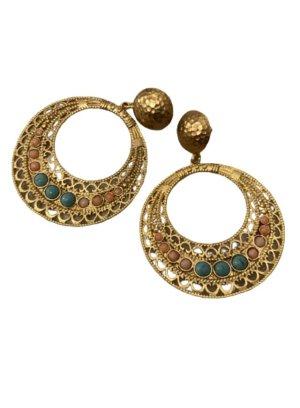 ottoman hands Statement Earrings multicolored metal