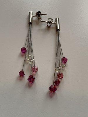 Zdobione kolczyki srebrny-różowy