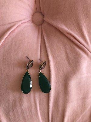 Stella & Dot Boucle d'oreille incrustée de pierres vert foncé-doré