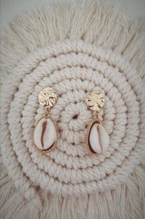 Zara Pendientes colgante blanco-color oro