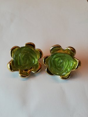 Earclip gold-colored-lime-green