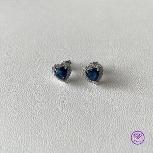 ♈️ Ohrstecker aus 925er Sterlingsilber mit blauem Zirkonia