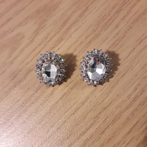 Ear stud white-silver-colored