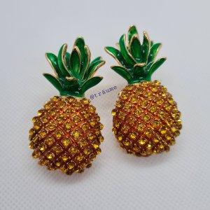 """Ohrstecker """"große Ananase"""" mit funkelnden gelb-orangenen Steinen"""