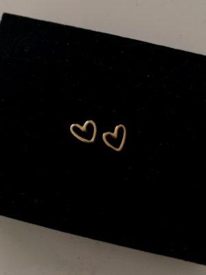 Ohrstecker Herzchen True Love von NEW ONE in Sterlingsilber, gelb vergoldet