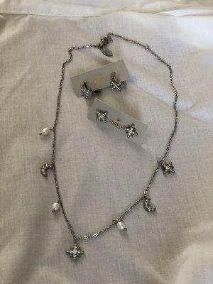 Ohrstecker mit passender Halskette silber