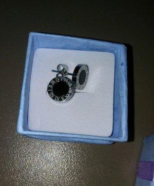 Clou d'oreille argenté-noir tissu mixte