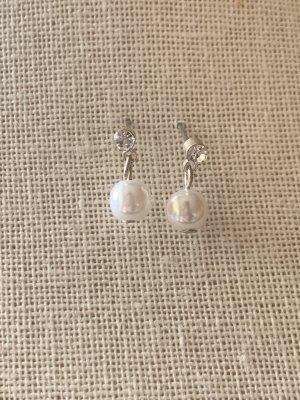Orecchino di perle argento-bianco sporco