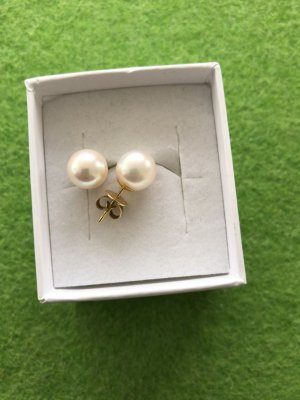 Ohne Boucles d'oreilles en perles blanc-doré
