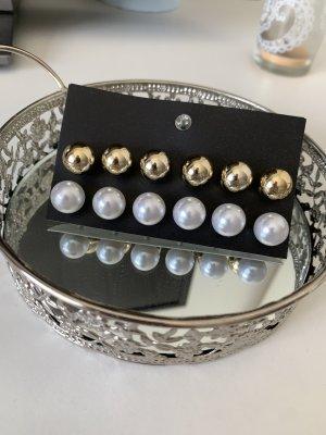 SheIn Pendientes de perlas blanco-color oro